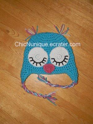 � Custom Crochet Girl's Sleepy Sleeping Owl Earflap Hat �All Sizes/Colors Available�