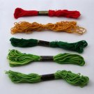 Cotton Embroidery Floss - Set of 5 in Green, Red, Gold