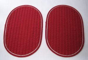 Quilted Cotton Placemats - Set of 2 - Burgundy With White Accent