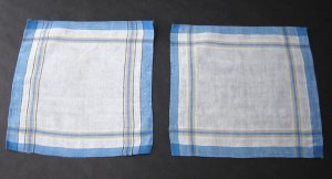 Vintage Blue Plaid Linen Napkins - Set of 2 For Him and Her - Authentic MidCentury Style