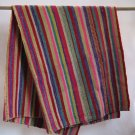 Hand-Woven Peruvian Wool Blanket or Rug - Brilliant Colors - Vintage Textile from Cuzco Region