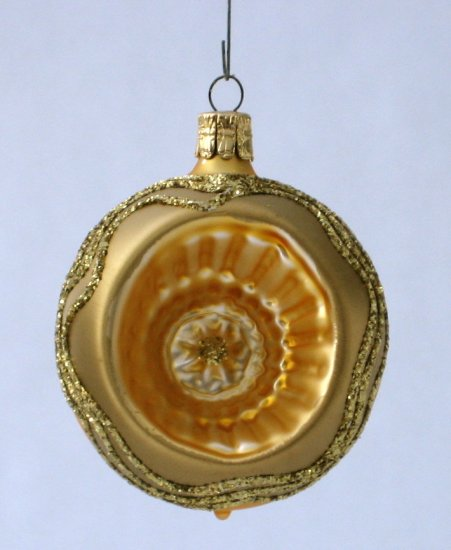 Gold Glass Globe Christmas Ornament With Dimple And