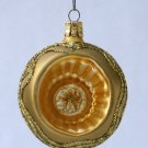 Gold Glass Globe Christmas Ornament With Dimple and Glitter - Handmade in Czech Republic