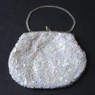 Vintage Hand-Beaded White Purse - Ideal for Brides, Proms, Special Occasions