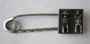 Vintage Skirt or Kilt Pin - Charming Pin With Cowboy Motif - Authentic MidCentury Jewelry