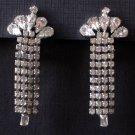 Vintage Waterfall Earrings - Sparkling Rhinestones in Cascading Strands - MidCentury Costume Jewelry