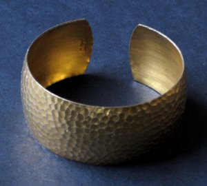 Vintage Gold Cuff Bracelet - 12K Gold Filled, Hammered Finish - Made in USA by Craftmere
