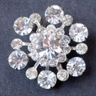 Vintage Snowflake Brooch Pin With 12 Points of Icy Rhinestones - MidCentury Costume Jewelry