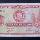 Peruvian 10 Soles De Oro Banknotes Issued 1971 - Set of 2 - Paper Money from Peru - Rare