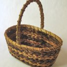 Open Straw Basket With Stripe Pattern and Twine Handle - Charming Decorative Accent or Gift Basket