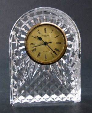 """Vintage Waterford Crystal Clock For Table or Mantel - 6.5"""", Arched Silhouette - Made in Ireland"""