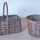 Willow Baskets With Gray Mauve Finish - Set of 2 - One Round, One Rectangle With Handle