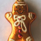 Glass Gingerbread Man Christmas Ornament With Iridescent Glitter Frosting