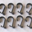 Black Plastic Shower Curtain Hooks – Set of 12 – Simple Scroll Design