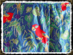 Vintage Parrot tropical trees vintage skirt w25