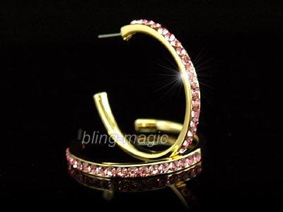 Gold Pla Hoop Earrings use Pink Swarovski Crystal SE001