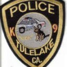 POLICE TULELAKE CA. K9 UNIFORM PATCH CALIFORNIA DOG COPS DRUGS GUNS CRIME STOPPER