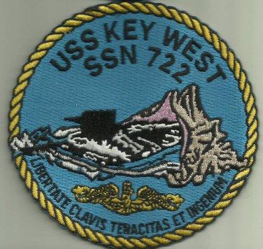 USS KEY WEST SSN 722 US.NAVY MILITARY PATCH SUBMARINE SAILOR FLORIDA USA OCEAN