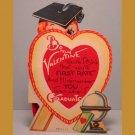 Vintage Valentines Card TEACHER School GRADUATE Stand-Up