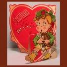 Vintage Valentine Day Card SCOTTISH Bagpipes kilt BLOW