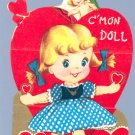 Vintage VALENTINE Card CUPID C'mon RAG DOLL Be Mine