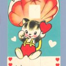 Vintage VALENTINE Card CAT Parachute POP-UP Dropping In