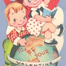 Vintage VALENTINE CARD Call on Me TEACHER Globe