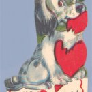 Vintage VALENTINE CARD Dog chewing Heart I'D CHEWS YOU