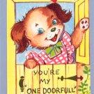 Vintage VALENTINE CARD Dog PINNAFORE One Doorfull
