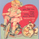 Vintage Valentine GIRL on TRICYCLE Dog PUPPY Trike