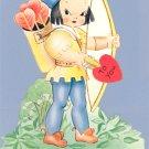 Vintage Valentine Card MECHANICAL Archer I'M ALL A-QUIVER