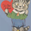 Vintage Valentine Day Card CAT WEARING CLOTHES Eyes Move