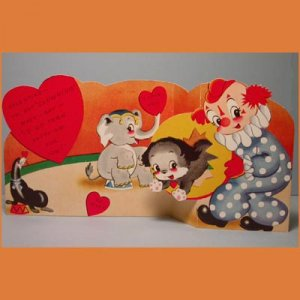 Vintage Valentine Card NOT CLOWNING Circus Clown 1950s
