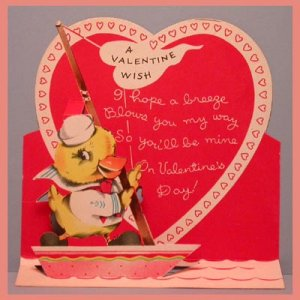 Vintage Valentine Card POP-UP Cute Duck BOAT Sailor 1940s/1950s