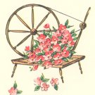 Vintage GIFT WRAP Wrapping Paper SPINNING WHEEL Floral