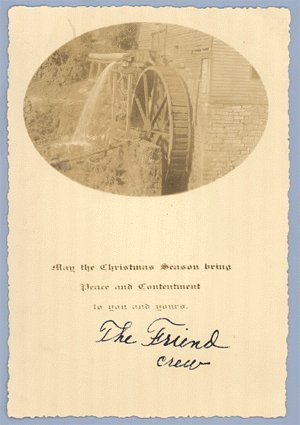Vintage REAL PHOTO Christmas Greeting Card OLD MILL