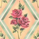 Vintage GIFT WRAP Wrapping Paper ROSE in DIAMOND