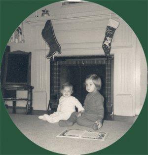 Vintage REAL PHOTO Christmas Greeting Card FIREPLACE