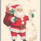Vintage Christmas Card AMERICAN GREETINGS Santa with List 1960s UNUSED