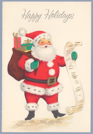 Vintage christmas card american greetings santa with list 1960s unused m4hsunfo