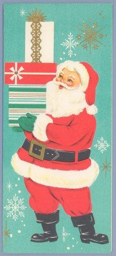 Vintage Christmas Card AMERICAN GREETINGS Santa with Gifts 1960s UNUSED