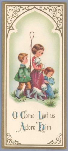 Vintage Christmas Card TRIPTYCH Children ADORE HIM 1950S/1960S UNUSED