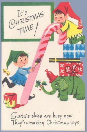 vintage christmas card coronation toycards elves santa airplane 1960s unused - Elf Christmas Card