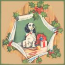 Vintage GIFT WRAP Wrapping Paper CHRISTMAS Dog PANELING 1940s