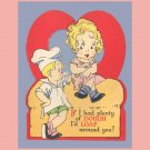 VTG Valentines Day Card 1930s LOAF AROUND Bread Baker Theme