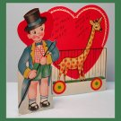 Vintage Valentines Day Card GIRAFFE Animal Trainer CIRCUS Ring Master