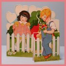 Vintage Valentine Card 1920s STANDING OFFER Cute Pair at a White Picket Fence