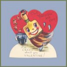 Vintage Valentines Day Card BRUSH OFF Paint Brush and Bucket CRAZY