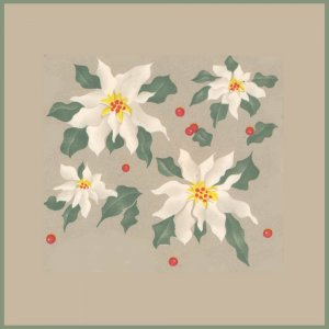 Vintage GIFT WRAP Scrapbook CHRISTMAS White Poinsettia