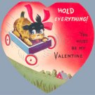 Vintage Valentine DOG IN WAGON Terrier AC CO 1930s/40s